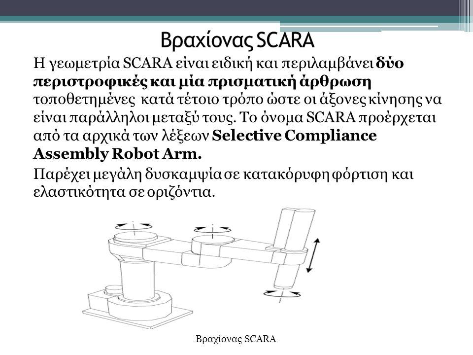 Η γεωμετρία SCARA είναι ειδική και περιλαμβάνει δύο περιστροφικές και μία πρισματική άρθρωση τοποθετημένες κατά τέτοιο τρόπο ώστε οι άξονες κίνησης να