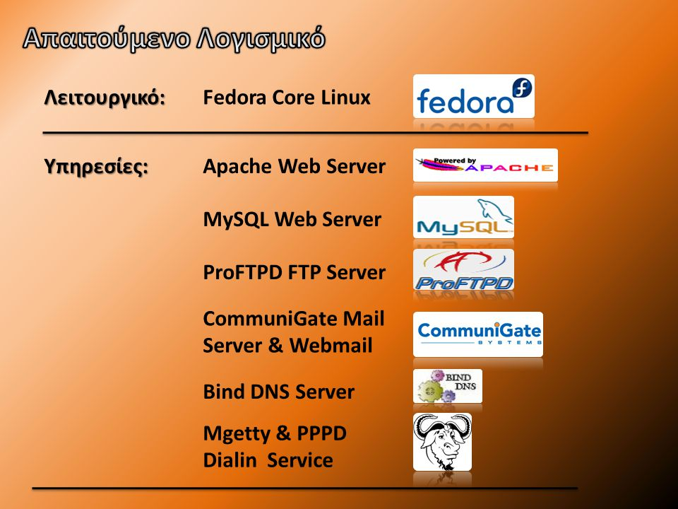 Λειτουργικό: Υπηρεσίες: Fedora Core Linux Apache Web Server MySQL Web Server ProFTPD FTP Server CommuniGate Mail Server & Webmail Mgetty & PPPD Dialin Service Bind DNS Server