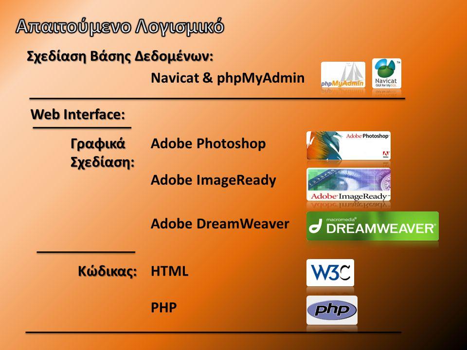 Web Interface: Adobe Photoshop Γραφικά Σχεδίαση: Κώδικας: Adobe ImageReady Adobe DreamWeaver HTML PHP Σχεδίαση Βάσης Δεδομένων: Navicat & phpMyAdmin