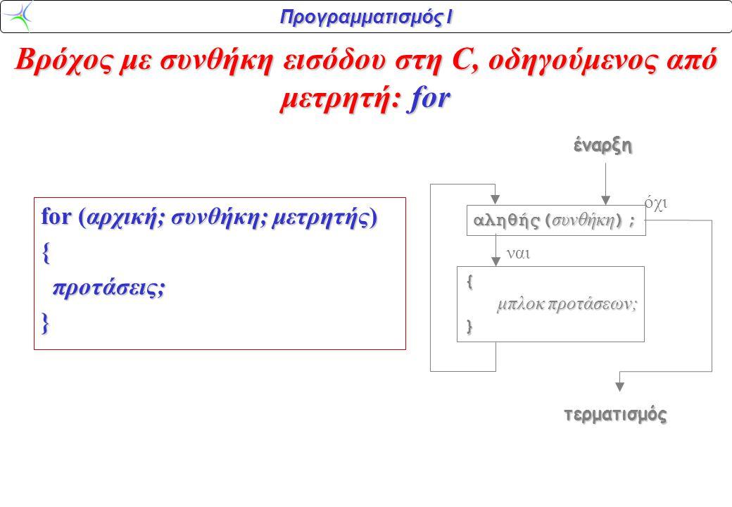 Προγραμματισμός Ι Βρόχος με συνθήκη εισόδου στη C, οδηγούμενος από μετρητή: for for (αρχική; συνθήκη; μετρητής) { προτάσεις; προτάσεις;} αληθής( συνθή