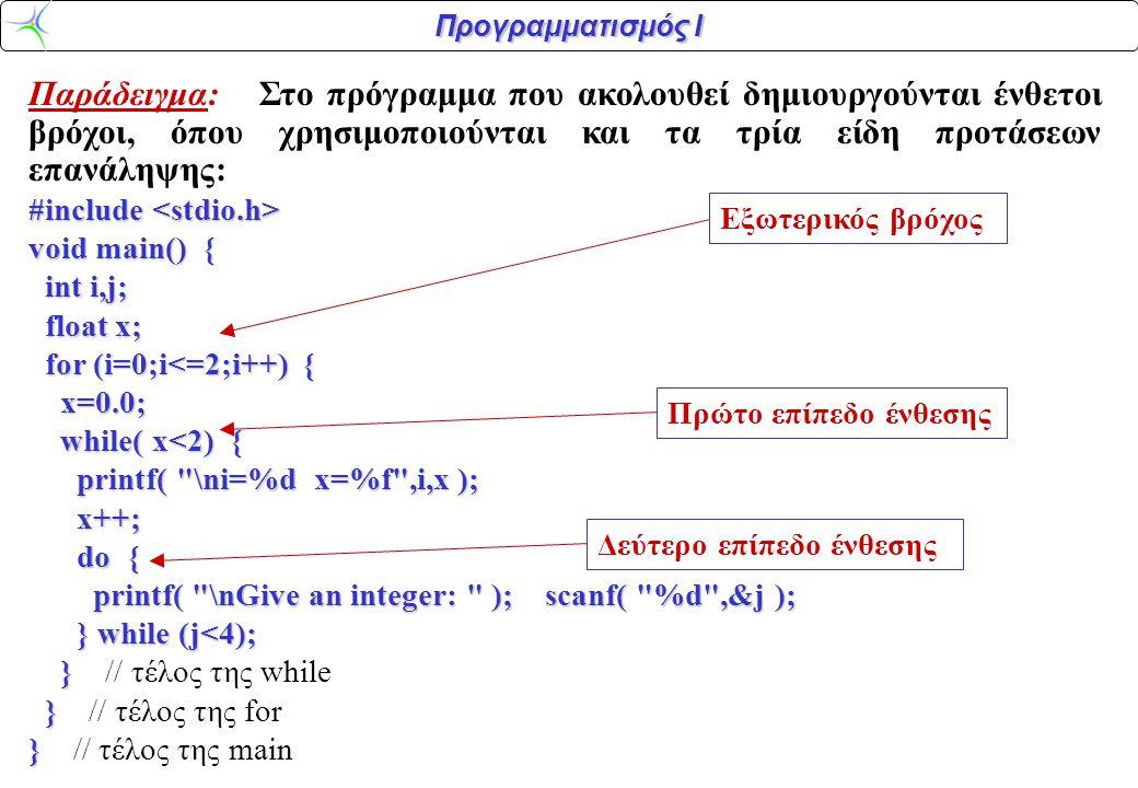 Προγραμματισμός Ι Παράδειγμα: Στο πρόγραμμα που ακολουθεί δημιουργούνται ένθετοι βρόχοι, όπου χρησιμοποιούνται και τα τρία είδη προτάσεων επανάληψης: