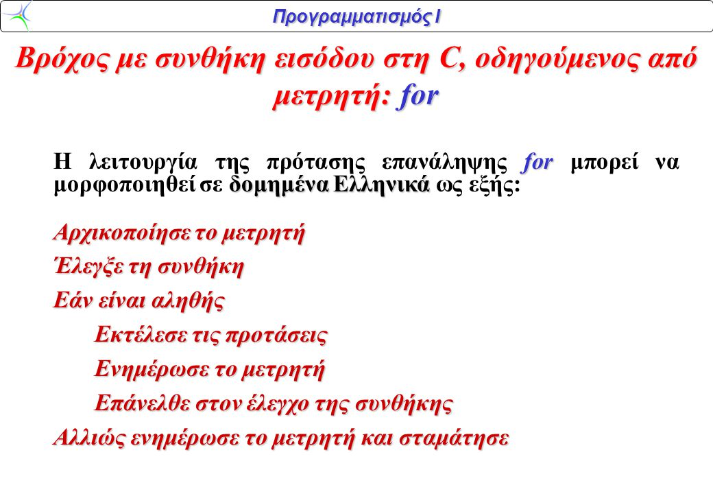 Προγραμματισμός Ι Βρόχος με συνθήκη εισόδου στη C, οδηγούμενος από μετρητή: for for δομημένα Ελληνικά Η λειτουργία της πρότασης επανάληψης for μπορεί