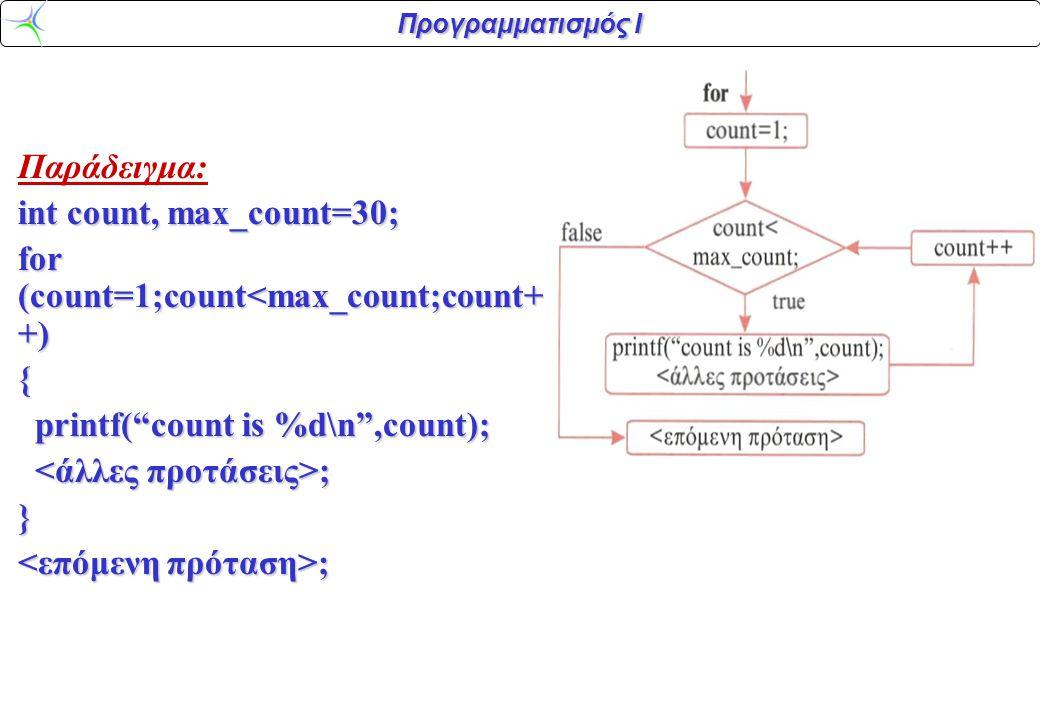 """Προγραμματισμός Ι Παράδειγμα: int count, max_count=30; for (count=1;count<max_count;count+ +) { printf(""""count is %d\n"""",count); printf(""""count is %d\n"""","""