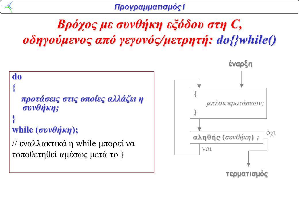 Προγραμματισμός Ι do{ προτάσεις στις οποίες αλλάζει η συνθήκη; προτάσεις στις οποίες αλλάζει η συνθήκη;} while (συνθήκη); // εναλλακτικά η while μπορε