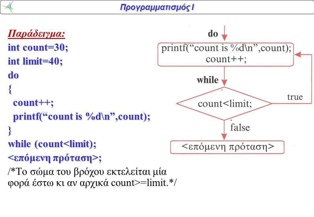 """Προγραμματισμός Ι Παράδειγμα: int count=30; int limit=40; do{ count++; count++; printf(""""count is %d\n"""",count); printf(""""count is %d\n"""",count);} while ("""