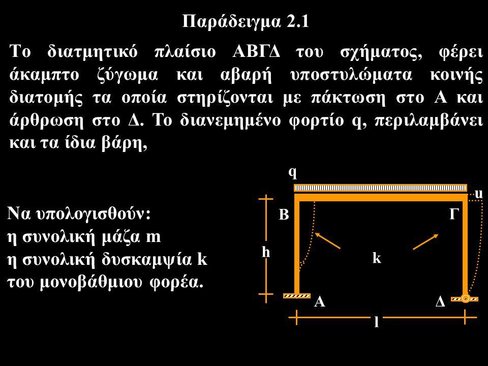 Να υπολογισθούν: η συνολική μάζα m η συνολική δυσκαμψία k του μονοβάθμιου φορέα. Παράδειγμα 2.1 Tο διατμητικό πλαίσιο ΑΒΓΔ του σχήματος, φέρει άκαμπτο