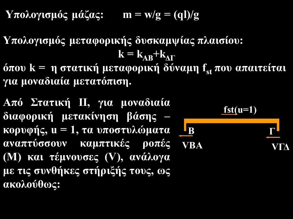 Υπολογισμός μάζας: m = w/g = (ql)/g Υπολογισμός μεταφορικής δυσκαμψίας πλαισίου: k = k AB +k ΔΓ όπου k = η στατική μεταφορική δύναμη f st που απαιτείτ