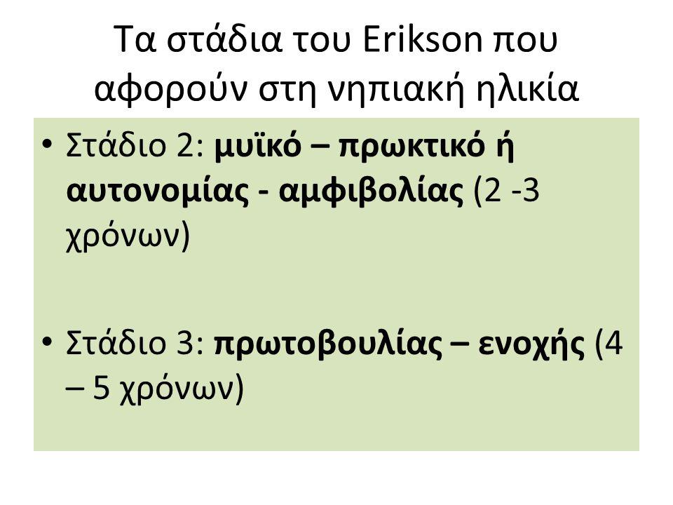 Τα στάδια του Erikson που αφορούν στη νηπιακή ηλικία Στάδιο 2: μυϊκό – πρωκτικό ή αυτονομίας - αμφιβολίας (2 -3 χρόνων) Στάδιο 3: πρωτοβουλίας – ενοχής (4 – 5 χρόνων)