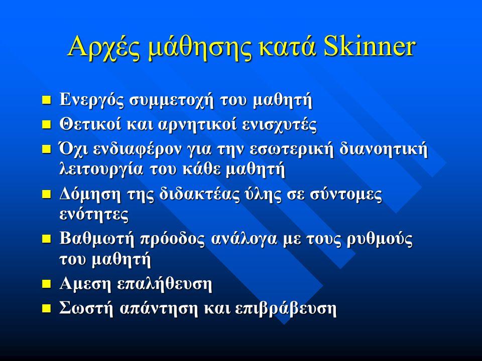 Αρχές μάθησης κατά Skinner Ενεργός συμμετοχή του μαθητή Ενεργός συμμετοχή του μαθητή Θετικοί και αρνητικοί ενισχυτές Θετικοί και αρνητικοί ενισχυτές Όχι ενδιαφέρον για την εσωτερική διανοητική λειτουργία του κάθε μαθητή Όχι ενδιαφέρον για την εσωτερική διανοητική λειτουργία του κάθε μαθητή Δόμηση της διδακτέας ύλης σε σύντομες ενότητες Δόμηση της διδακτέας ύλης σε σύντομες ενότητες Βαθμωτή πρόοδος ανάλογα με τους ρυθμούς του μαθητή Βαθμωτή πρόοδος ανάλογα με τους ρυθμούς του μαθητή Αμεση επαλήθευση Αμεση επαλήθευση Σωστή απάντηση και επιβράβευση Σωστή απάντηση και επιβράβευση