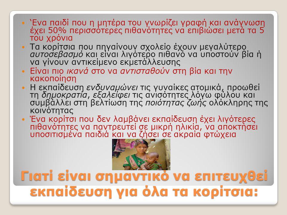 «Δεν υπάρχει πιο αποτελεσματικό εργαλείο ανάπτυξης από τη μόρφωση των κοριτσιών» Κόφι Ανάν, Πρώην Γραμματέας του Ο.Η.Ε.