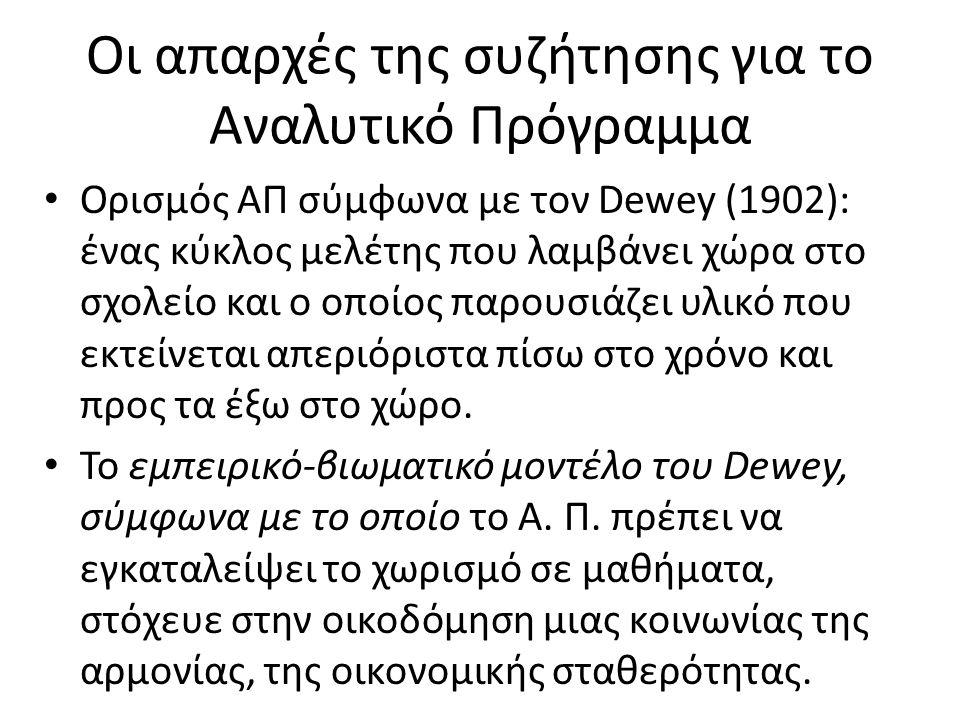 Οι απαρχές της συζήτησης για το Αναλυτικό Πρόγραμμα Ορισμός ΑΠ σύμφωνα με τον Dewey (1902): ένας κύκλος μελέτης που λαμβάνει χώρα στο σχολείο και ο οπ
