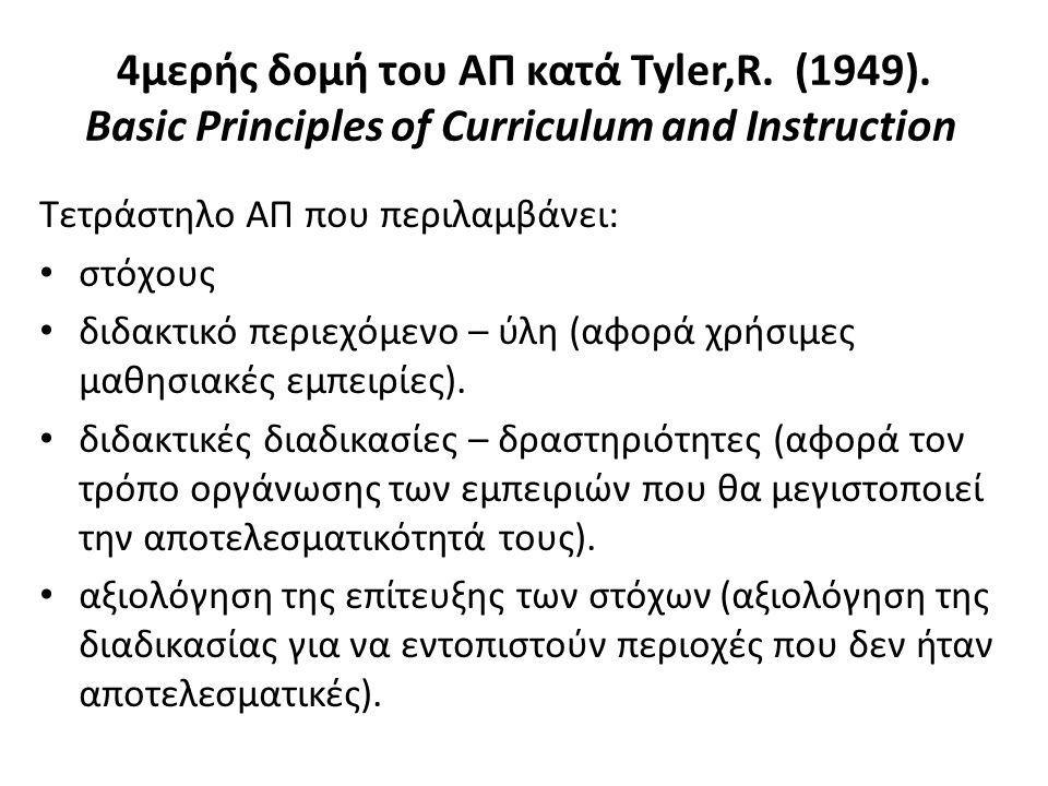 4μερής δομή του ΑΠ κατά Tyler,R. (1949). Basic Principles of Curriculum and Instruction Τετράστηλο ΑΠ που περιλαμβάνει: στόχους διδακτικό περιεχόμενο
