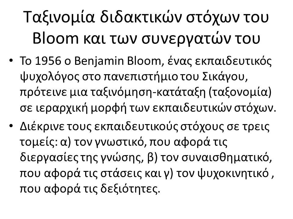Ταξινομία διδακτικών στόχων του Bloom και των συνεργατών του To 1956 ο Benjamin Bloom, ένας εκπαιδευτικός ψυχολόγος στο πανεπιστήμιο του Σικάγου, πρότ