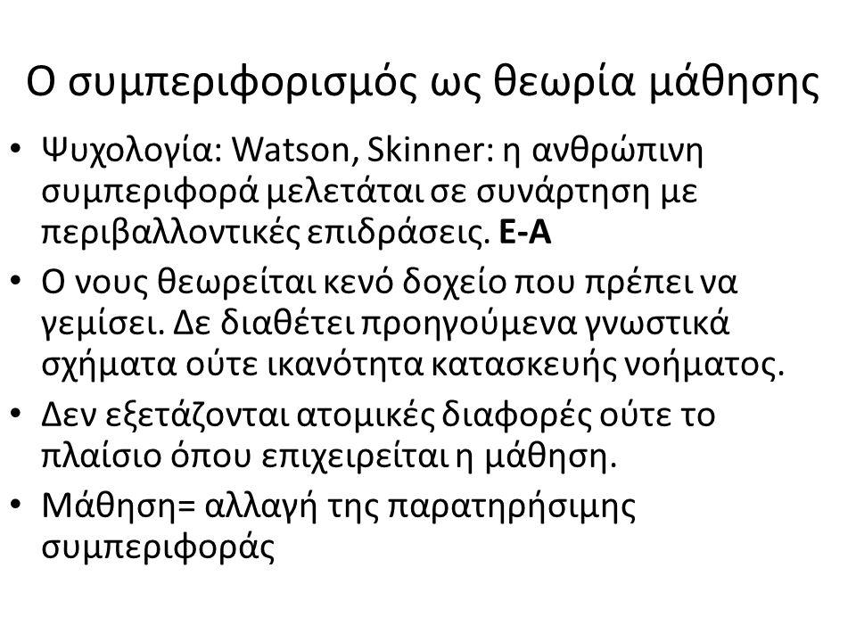 Ο συμπεριφορισμός ως θεωρία μάθησης Ψυχολογία: Watson, Skinner: η ανθρώπινη συμπεριφορά μελετάται σε συνάρτηση με περιβαλλοντικές επιδράσεις. Ε-Α Ο νο