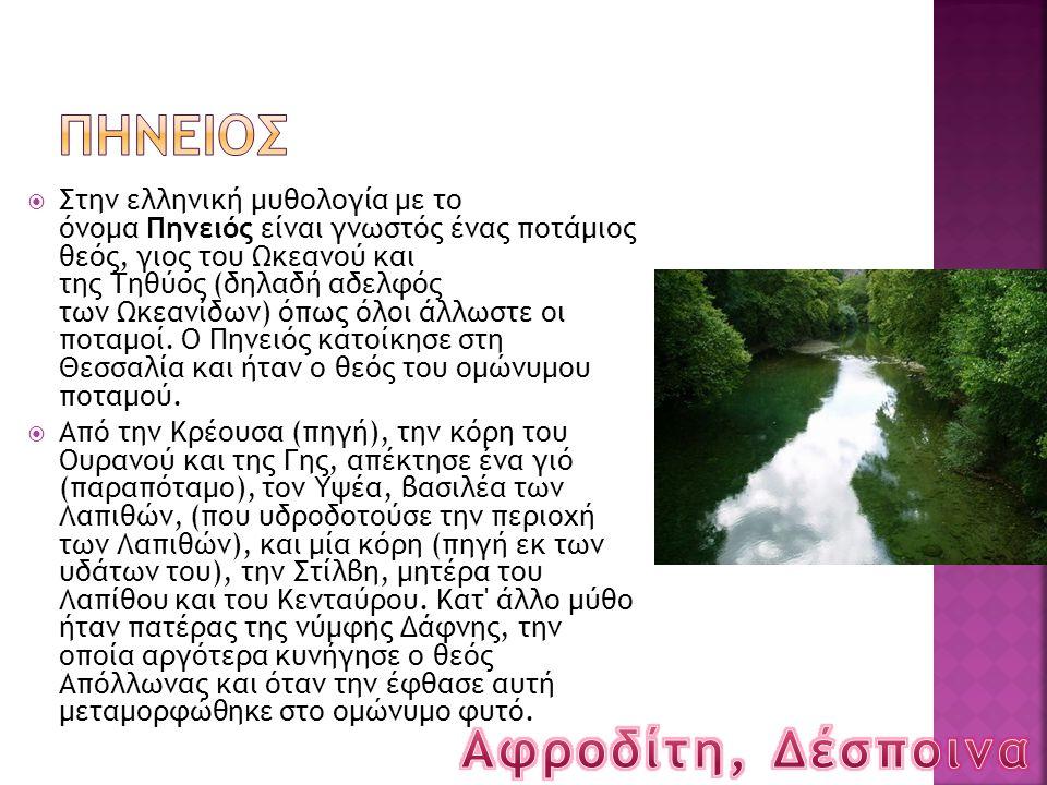  Στην ελληνική μυθολογία με το όνομα Πηνειός είναι γνωστός ένας ποτάμιος θεός, γιος του Ωκεανού και της Τηθύος (δηλαδή αδελφός των Ωκεανίδων) όπως όλ