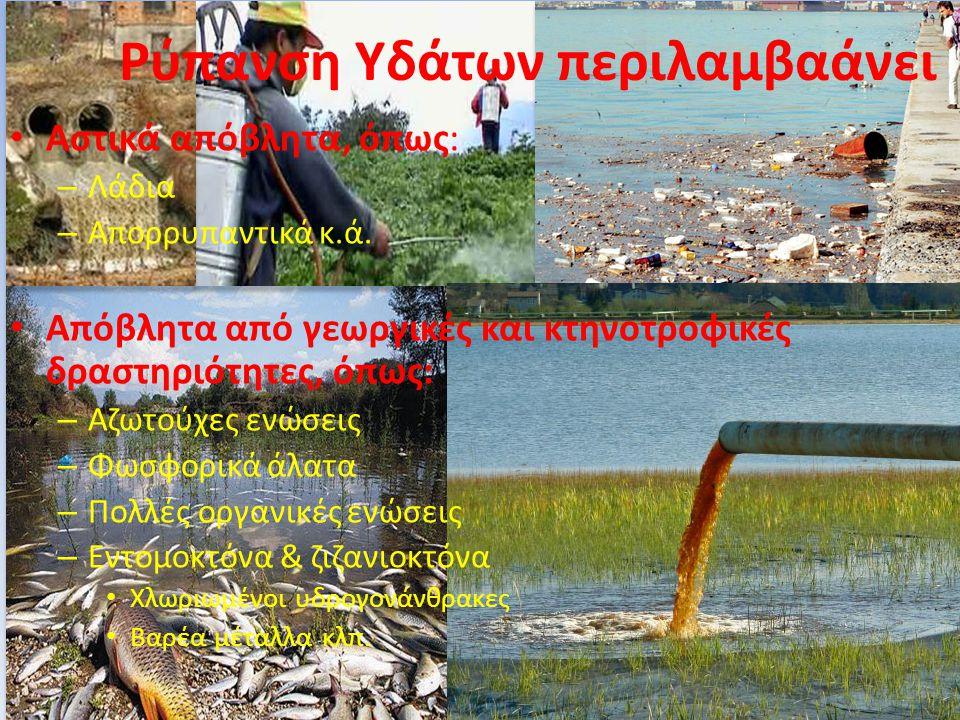 Ρύπανση Υδάτων περιλαμβαάνει Αστικά απόβλητα, όπως: – Λάδια – Απορρυπαντικά κ.ά. Απόβλητα από γεωργικές και κτηνοτροφικές δραστηριότητες, όπως: – Αζωτ