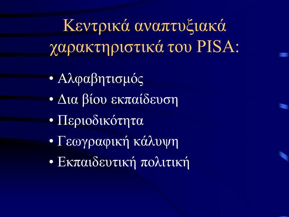 Κεντρικά αναπτυξιακά χαρακτηριστικά του PISA: Αλφαβητισμός Δια βίου εκπαίδευση Περιοδικότητα Γεωγραφική κάλυψη Εκπαιδευτική πολιτική
