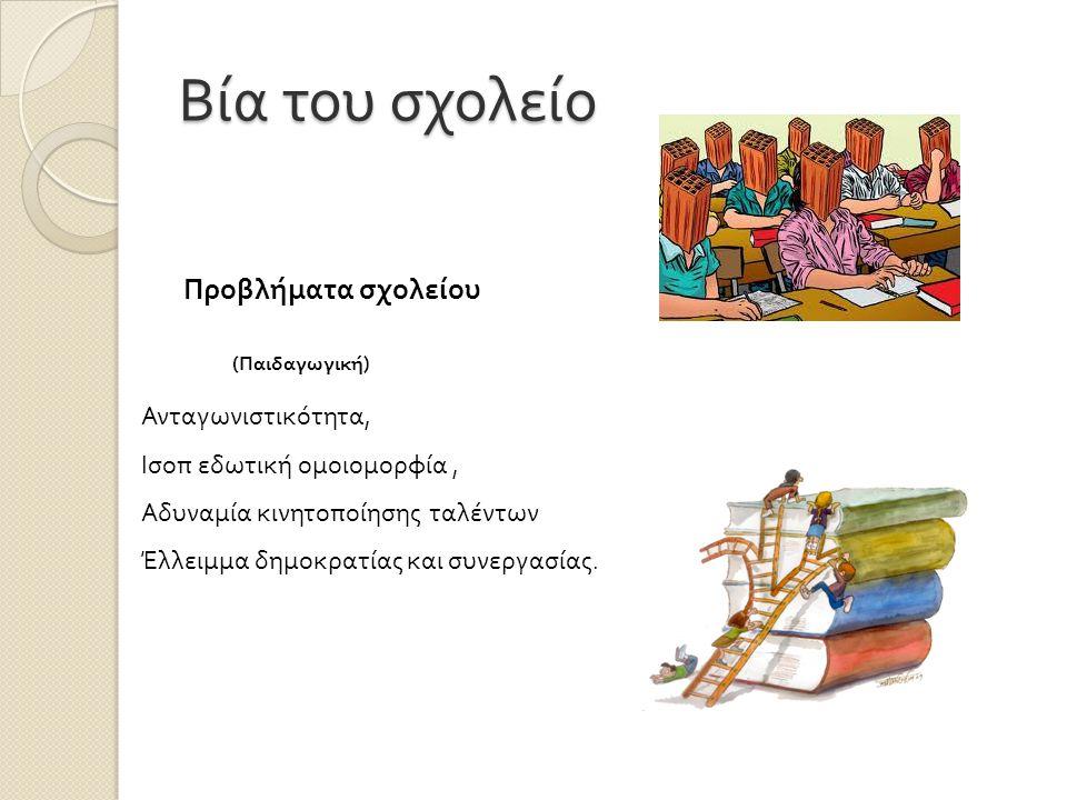 Βία του σχολείο Προβλήματα σχολείου ( Παιδαγωγική ) Ανταγωνιστικότητα, Ισοπ εδωτική ομοιομορφία, Αδυναμία κινητοποίησης ταλέντων Έλλειμμα δημοκρατίας και συνεργασίας.