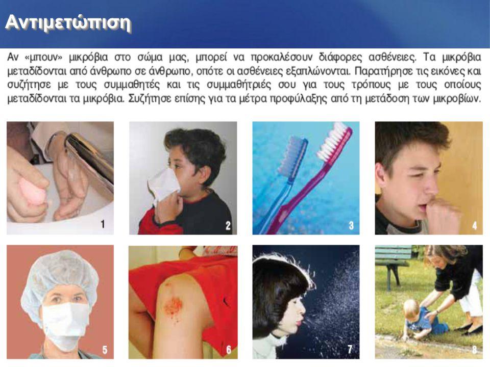 ΑντιμετώπισηΑντιμετώπιση Από τα χέρια, με επαφήΠλύσιμο χεριών Από χρησιμοποιημένο χαρτομάντιλο Αποφυγή επαφής Από το στόμα Ο καθένας χρησιμοποιεί τη δική του οδοντόβουρτσα.