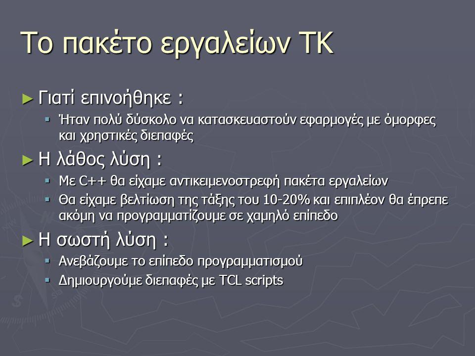 Το πακέτο εργαλείων TK ► Γιατί επινοήθηκε :  Ήταν πολύ δύσκολο να κατασκευαστούν εφαρμογές με όμορφες και χρηστικές διεπαφές ► Η λάθος λύση :  Με C+
