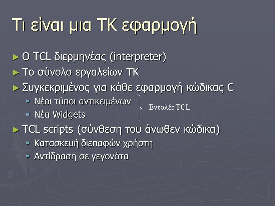Τι είναι μια ΤΚ εφαρμογή ► O TCL διερμηνέας (interpreter) ► To σύνολο εργαλείων ΤΚ ► Συγκεκριμένος για κάθε εφαρμογή κώδικας C  Νέοι τύποι αντικειμέν