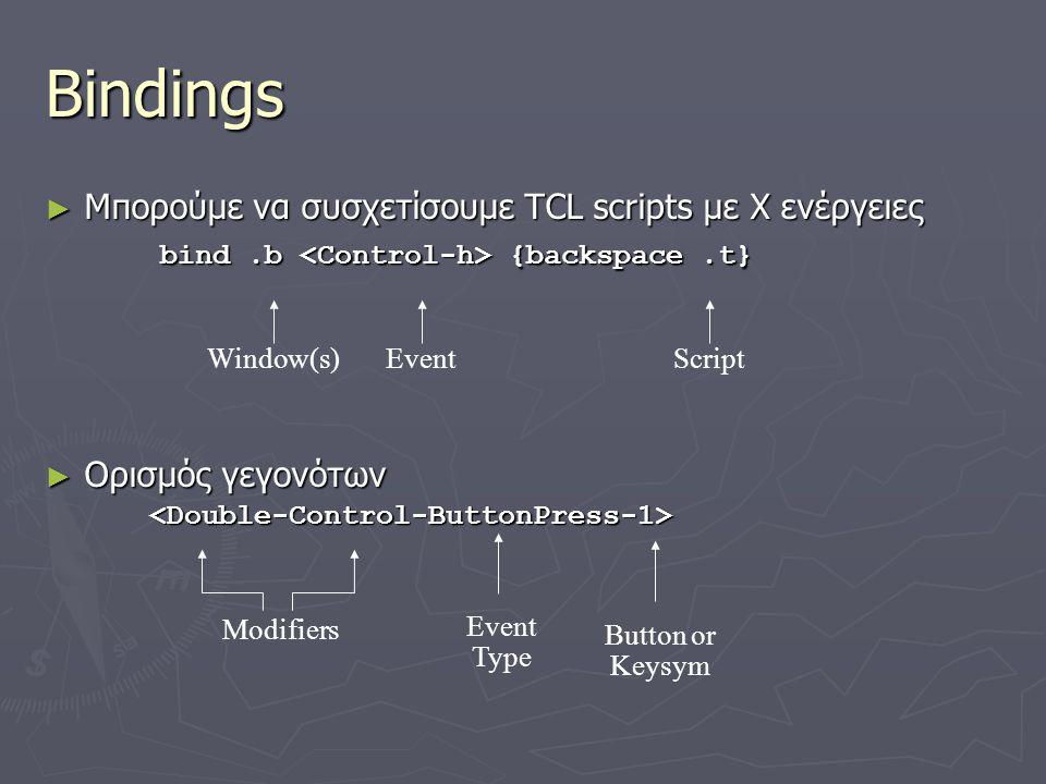 Bindings ► Μπορούμε να συσχετίσουμε TCL scripts με Χ ενέργειες bind.b {backspace.t} bind.b {backspace.t} ► Ορισμός γεγονότων <Double-Control-ButtonPre