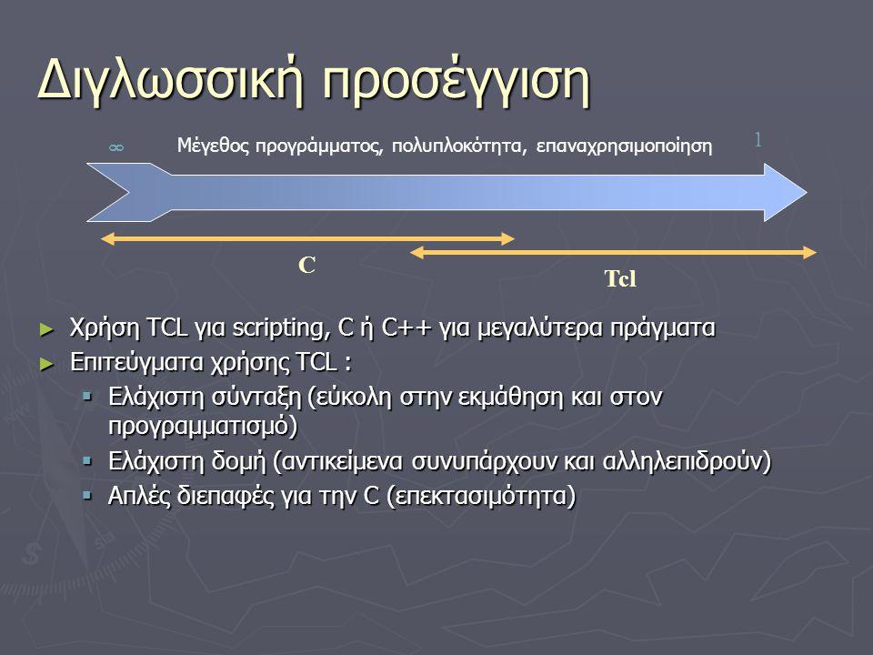 Ενσωματώνοντας την TCL σε εφαρμογές ► Η εφαρμογή παράγει scripts ► H TCL κάνει συντακτική ανάλυση των scripts και περνάει λέξεις προς εκτέλεση διεργασιών ► Η εφαρμογή επεκτείνει ένα ενσωματωμένο σύνολο εντολών  Ορίζει νέους τύπους αντικειμένων σε C  Αναπαριστά βασικές λειτουργίες ως νέες εντολές TCL  Κατασκευάζει σύνθετα χαρακτηριστικά με TCL scripts Parser Init Command Loop Application Commands Built-In Commands TclApplication