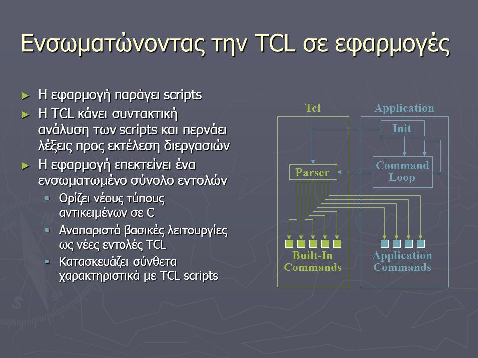 Επεκτάσεις ► Οι επεκτάσεις μπορούν να αναπτυχθούν ανεξάρτητα  Δικτυακή επικοινωνία, εισαγωγή βάσεων δεδομένων, ασφάλεια… ► Οι εφαρμογές μπορούν να περιέχουν συνδυασμούς επεκτάσεων Parser Init Command Loop Application Commands Built-In Commands TclApplication Extension Commands Extension