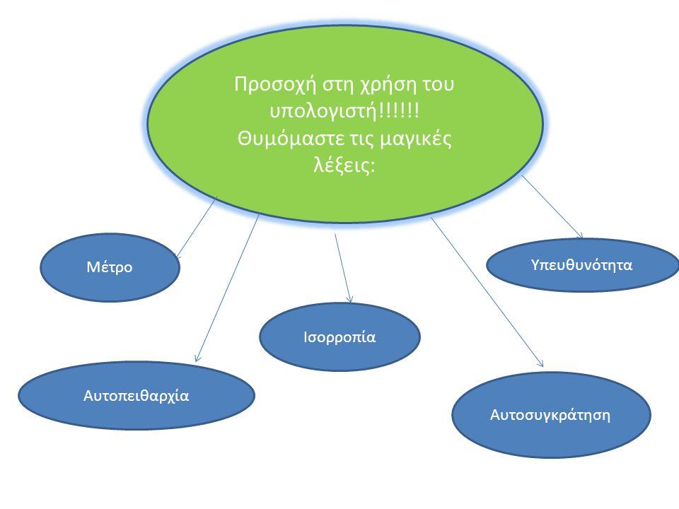 Προσοχή στη χρήση του υπολογιστή!!!!!! Θυμόμαστε τις μαγικές λέξεις: Υπευθυνότητα Μέτρο Αυτοσυγκράτηση Αυτοπειθαρχία Ισορροπία