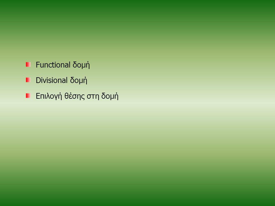 Functional δομή Divisional δομή Επιλογή θέσης στη δομή