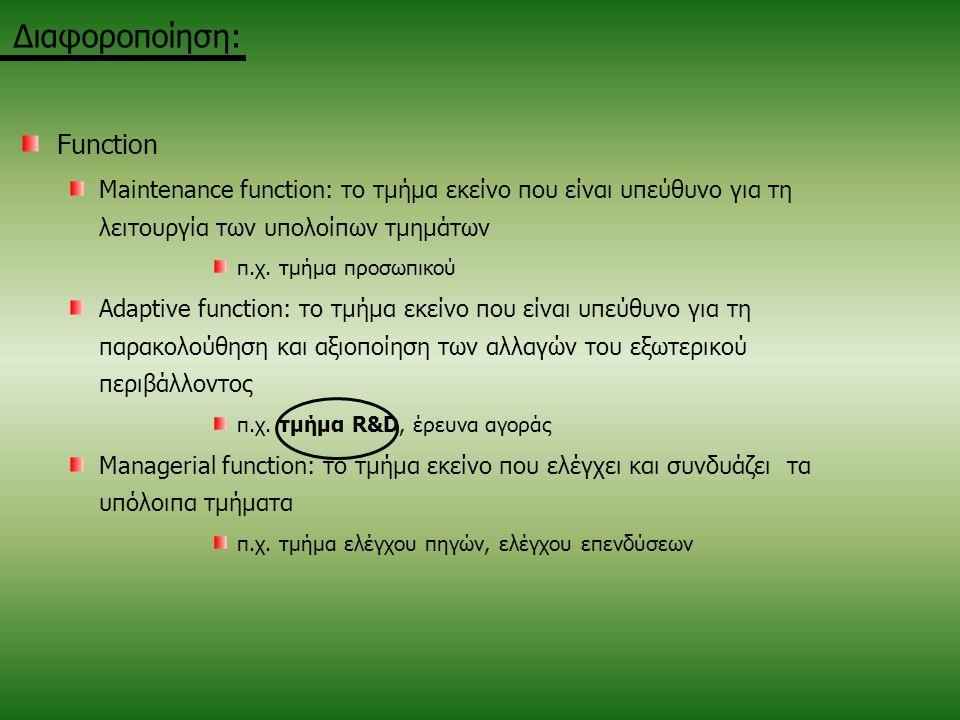 Function Maintenance function: το τμήμα εκείνο που είναι υπεύθυνο για τη λειτουργία των υπολοίπων τμημάτων π.χ. τμήμα προσωπικού Adaptive function: το