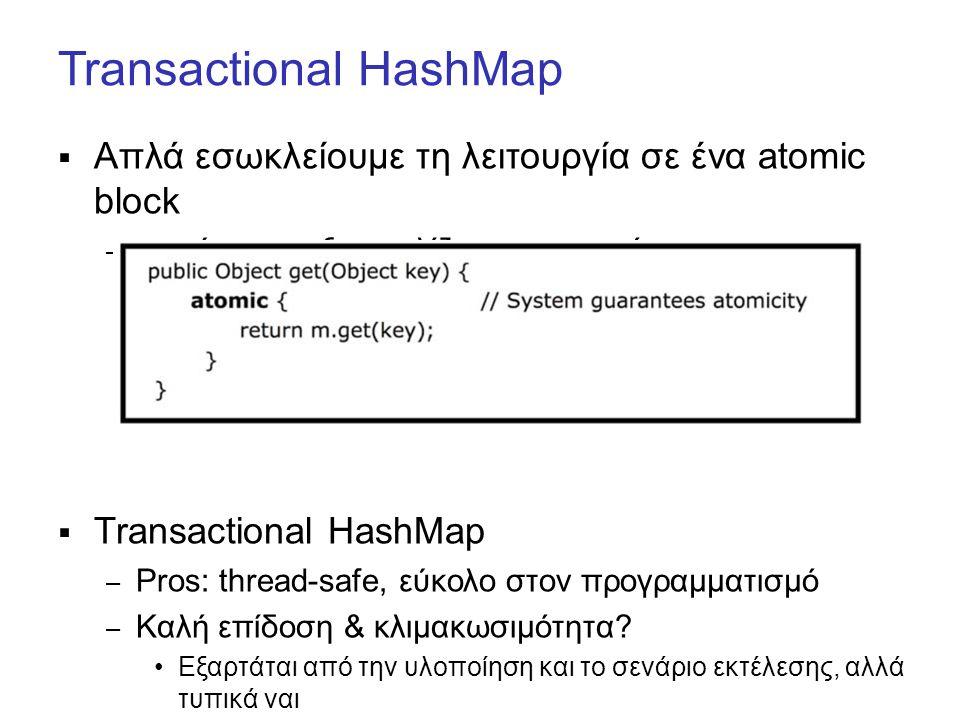 Transactional HashMap  Απλά εσωκλείουμε τη λειτουργία σε ένα atomic block – το σύστημα εξασφαλίζει την ατομικότητα  Transactional HashMap – Pros: thread-safe, εύκολο στον προγραμματισμό – Καλή επίδοση & κλιμακωσιμότητα.