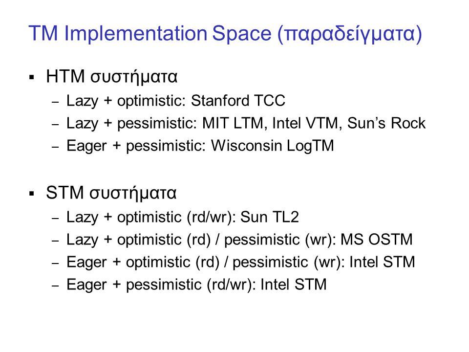 TM Implementation Space (παραδείγματα)  ΗΤΜ συστήματα – Lazy + optimistic: Stanford TCC – Lazy + pessimistic: MIT LTM, Intel VTM, Sun's Rock – Eager + pessimistic: Wisconsin LogTM  STM συστήματα – Lazy + optimistic (rd/wr): Sun TL2 – Lazy + optimistic (rd) / pessimistic (wr): MS OSTM – Eager + optimistic (rd) / pessimistic (wr): Intel STM – Eager + pessimistic (rd/wr): Intel STM
