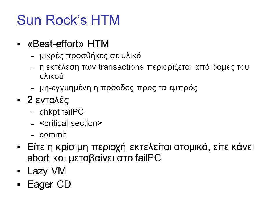 Sun Rock's HTM  «Best-effort» HTM – μικρές προσθήκες σε υλικό – η εκτέλεση των transactions περιορίζεται από δομές του υλικού – μη-εγγυημένη η πρόοδος προς τα εμπρός  2 εντολές – chkpt failPC – – commit  Είτε η κρίσιμη περιοχή εκτελείται ατομικά, είτε κάνει abort και μεταβαίνει στο failPC  Lazy VM  Eager CD