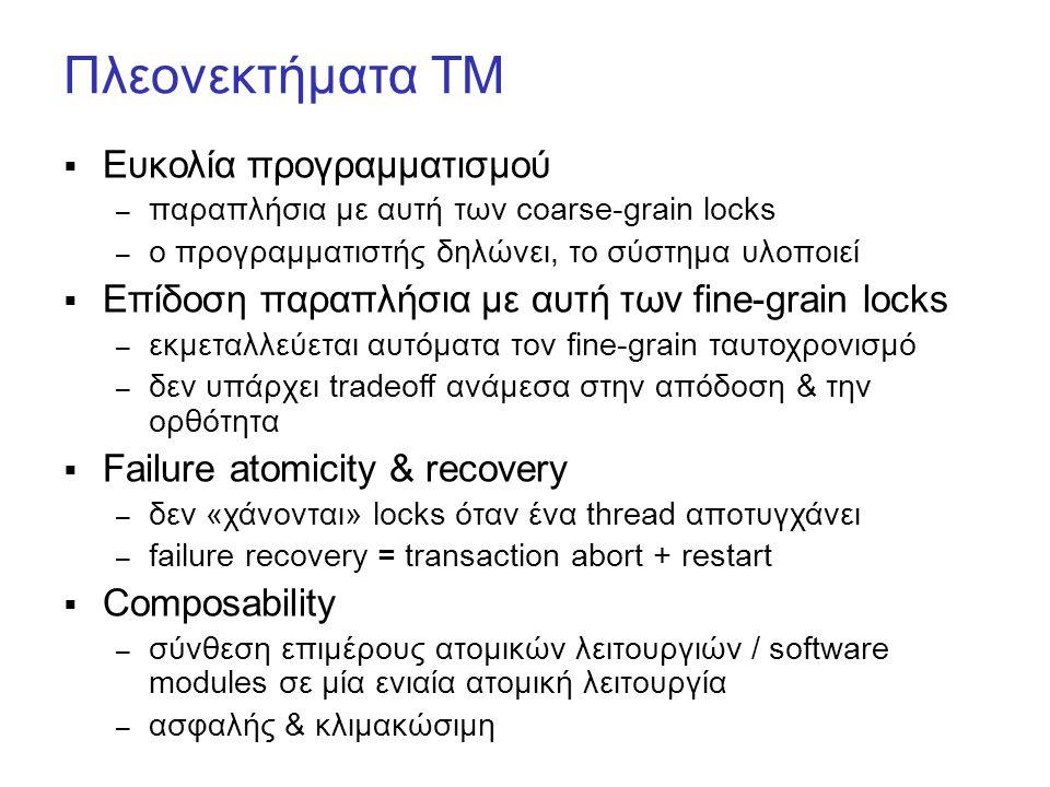 Πλεονεκτήματα ΤΜ  Ευκολία προγραμματισμού – παραπλήσια με αυτή των coarse-grain locks – ο προγραμματιστής δηλώνει, το σύστημα υλοποιεί  Επίδοση παραπλήσια με αυτή των fine-grain locks – εκμεταλλεύεται αυτόματα τον fine-grain ταυτοχρονισμό – δεν υπάρχει tradeoff ανάμεσα στην απόδοση & την ορθότητα  Failure atomicity & recovery – δεν «χάνονται» locks όταν ένα thread αποτυγχάνει – failure recovery = transaction abort + restart  Composability – σύνθεση επιμέρους ατομικών λειτουργιών / software modules σε μία ενιαία ατομική λειτουργία – ασφαλής & κλιμακώσιμη