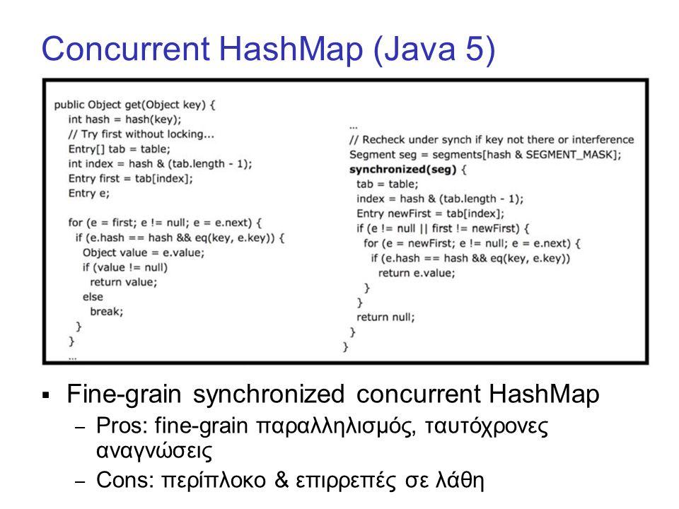 Concurrent HashMap (Java 5)  Fine-grain synchronized concurrent HashMap – Pros: fine-grain παραλληλισμός, ταυτόχρονες αναγνώσεις – Cons: περίπλοκο & επιρρεπές σε λάθη