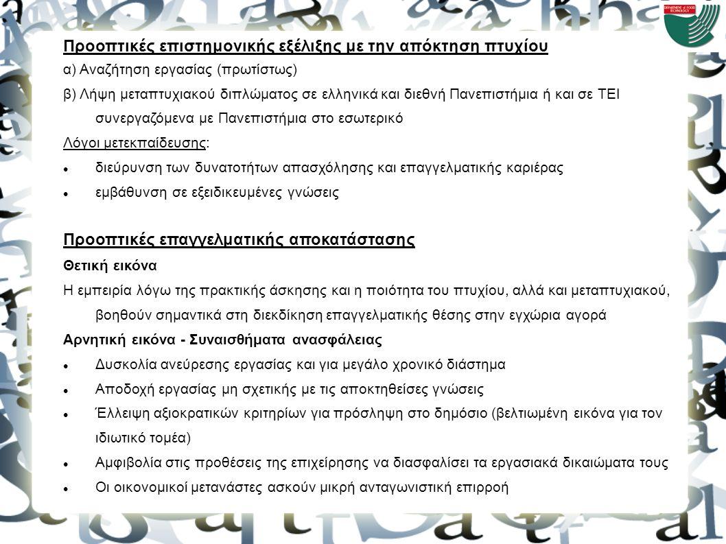 Προοπτικές επιστημονικής εξέλιξης με την απόκτηση πτυχίου α) Αναζήτηση εργασίας (πρωτίστως) β) Λήψη μεταπτυχιακού διπλώματος σε ελληνικά και διεθνή Πα