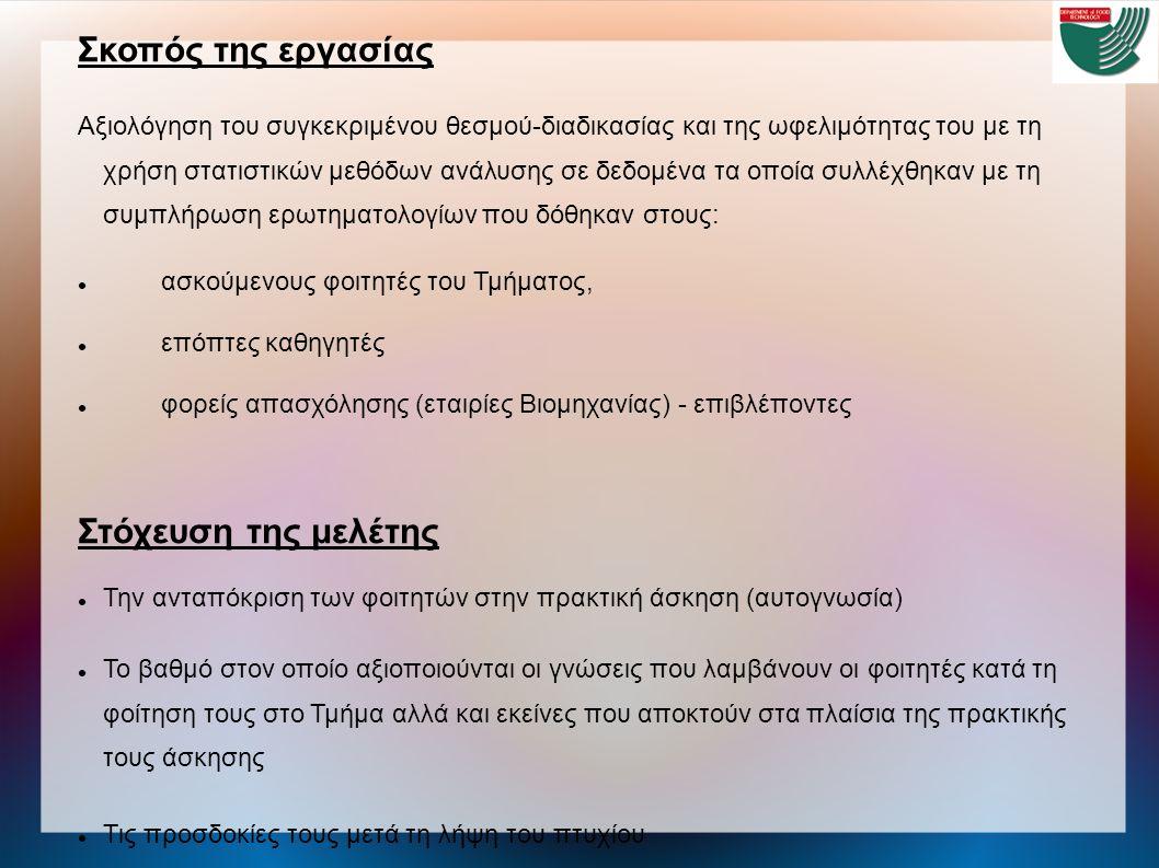 Προοπτικές επιστημονικής εξέλιξης με την απόκτηση πτυχίου α) Αναζήτηση εργασίας (πρωτίστως) β) Λήψη μεταπτυχιακού διπλώματος σε ελληνικά και διεθνή Πανεπιστήμια ή και σε ΤΕΙ συνεργαζόμενα με Πανεπιστήμια στο εσωτερικό Λόγοι μετεκπαίδευσης: διεύρυνση των δυνατοτήτων απασχόλησης και επαγγελματικής καριέρας εμβάθυνση σε εξειδικευμένες γνώσεις Προοπτικές επαγγελματικής αποκατάστασης Θετική εικόνα Η εμπειρία λόγω της πρακτικής άσκησης και η ποιότητα του πτυχίου, αλλά και μεταπτυχιακού, βοηθούν σημαντικά στη διεκδίκηση επαγγελματικής θέσης στην εγχώρια αγορά Αρνητική εικόνα - Συναισθήματα ανασφάλειας Δυσκολία ανεύρεσης εργασίας και για μεγάλο χρονικό διάστημα Αποδοχή εργασίας μη σχετικής με τις αποκτηθείσες γνώσεις Έλλειψη αξιοκρατικών κριτηρίων για πρόσληψη στο δημόσιο (βελτιωμένη εικόνα για τον ιδιωτικό τομέα) Αμφιβολία στις προθέσεις της επιχείρησης να διασφαλίσει τα εργασιακά δικαιώματα τους Οι οικονομικοί μετανάστες ασκούν μικρή ανταγωνιστική επιρροή
