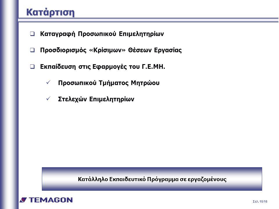 Σελ. 15/16 Κατάρτιση  Καταγραφή Προσωπικού Επιμελητηρίων  Προσδιορισμός «Κρίσιμων» Θέσεων Εργασίας  Εκπαίδευση στις Εφαρμογές του Γ.Ε.ΜΗ. Προσωπικο