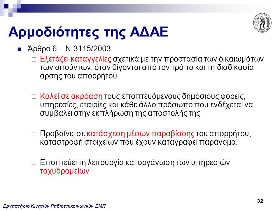 Εργαστήριο Κινητών Ραδιοεπικοινωνιών ΕΜΠ 32 Αρμοδιότητες της ΑΔΑΕ Άρθρο 6, Ν.3115/2003  Εξετάζει καταγγελίες σχετικά με την προστασία των δικαιωμάτων