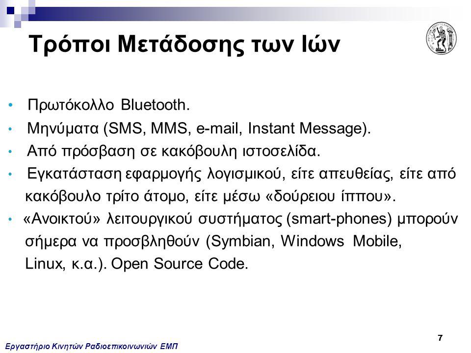 Εργαστήριο Κινητών Ραδιοεπικοινωνιών ΕΜΠ 7 Πρωτόκολλο Bluetooth. Μηνύματα (SMS, MMS, e-mail, Instant Message). Από πρόσβαση σε κακόβουλη ιστοσελίδα. Ε