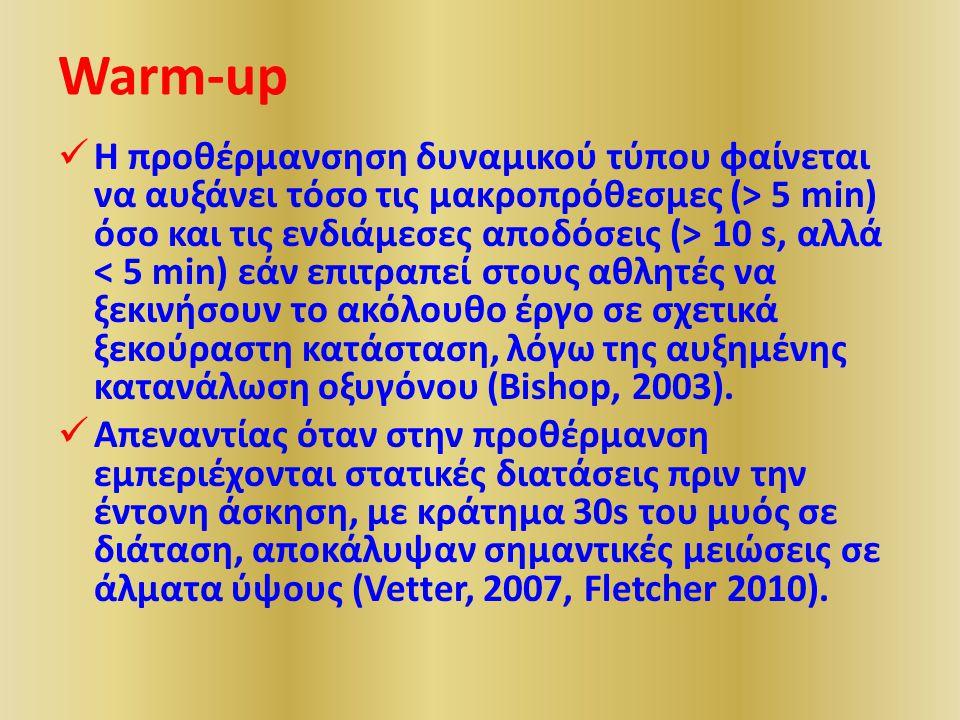 Warm-up Η προθέρμανσηση δυναμικού τύπου φαίνεται να αυξάνει τόσο τις μακροπρόθεσμες (> 5 min) όσο και τις ενδιάμεσες αποδόσεις (> 10 s, αλλά < 5 min) εάν επιτραπεί στους αθλητές να ξεκινήσουν το ακόλουθο έργο σε σχετικά ξεκούραστη κατάσταση, λόγω της αυξημένης κατανάλωση οξυγόνου (Bishop, 2003).
