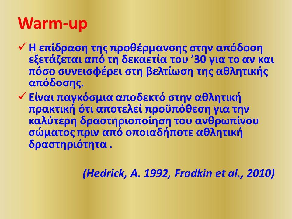 Warm-up Η επίδραση της προθέρμανσης στην απόδοση εξετάζεται από τη δεκαετία του '30 για το αν και πόσο συνεισφέρει στη βελτίωση της αθλητικής απόδοσης.