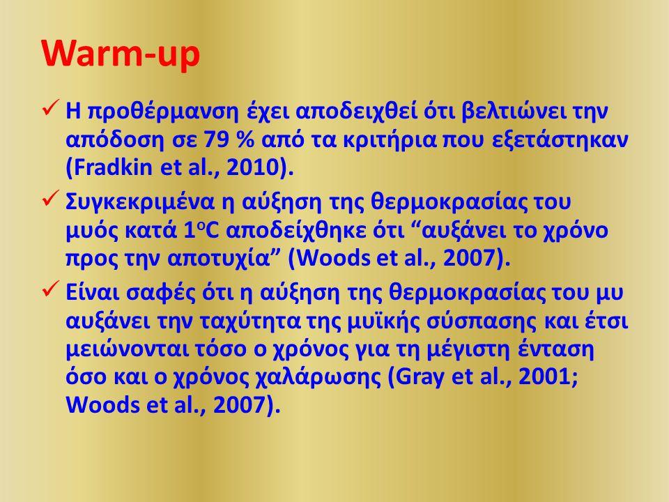 Warm-up Η προθέρμανση έχει αποδειχθεί ότι βελτιώνει την απόδοση σε 79 % από τα κριτήρια που εξετάστηκαν (Fradkin et al., 2010).