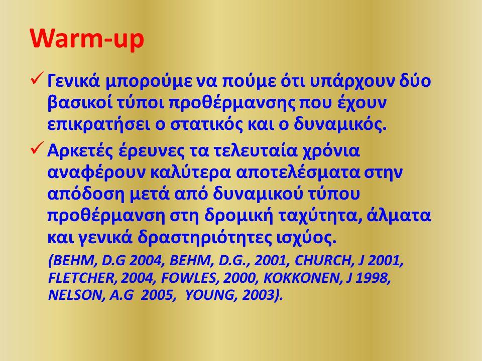 Warm-up Γενικά μπορούμε να πούμε ότι υπάρχουν δύο βασικοί τύποι προθέρμανσης που έχουν επικρατήσει ο στατικός και ο δυναμικός.