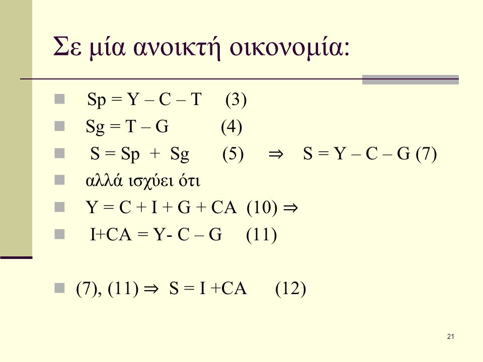 21 Σε μία ανοικτή οικονομία: Sp = Y – C – T (3) Sg = T – G (4) S = Sp + Sg (5) ⇒ S = Y – C – G (7) αλλά ισχύει ότι Y = C + I + G + CA (10) ⇒ I+CA = Y-