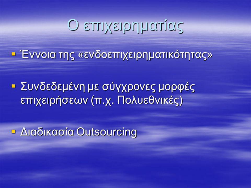 Ο επιχειρηματίας  Έννοια της «ενδοεπιχειρηματικότητας»  Συνδεδεμένη με σύγχρονες μορφές επιχειρήσεων (π.χ. Πολυεθνικές)  Διαδικασία Outsourcing