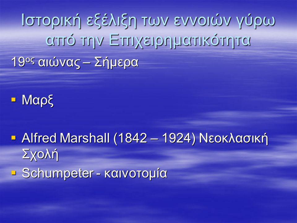 Ιστορική εξέλιξη των εννοιών γύρω από την Επιχειρηματικότητα 19 ος αιώνας – Σήμερα  Μαρξ  Alfred Marshall (1842 – 1924) Νεοκλασική Σχολή  Schumpete