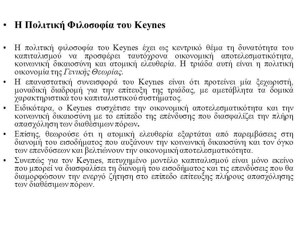 Η Πολιτική Φιλοσοφία του Keynes Η πολιτική φιλοσοφία του Keynes έχει ως κεντρικό θέμα τη δυνατότητα του καπιταλισμού να προσφέρει ταυτόχρονα οικονομική αποτελεσματικότητα, κοινωνική δικαιοσύνη και ατομική ελευθερία.