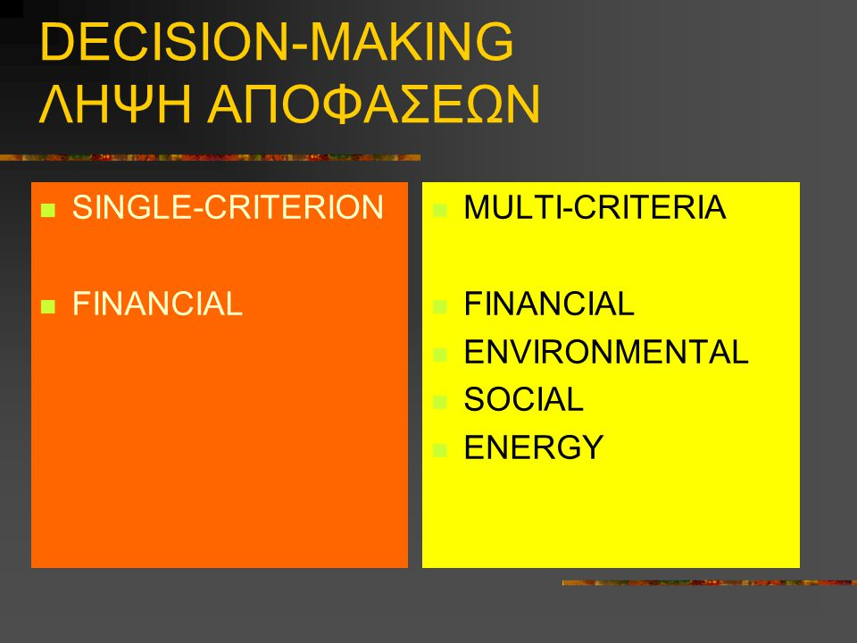 DECISION-MAKING ΛΗΨΗ ΑΠΟΦΑΣΕΩΝ SINGLE-CRITERION FINANCIAL MULTI-CRITERIA FINANCIAL ENVIRONMENTAL SOCIAL ENERGY
